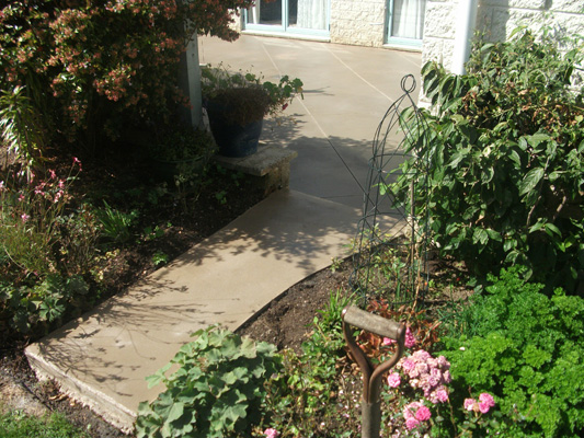 Newly constructed concrete pathway