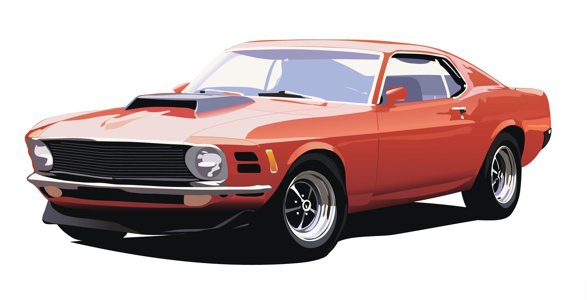 An illustration of a vintage red car