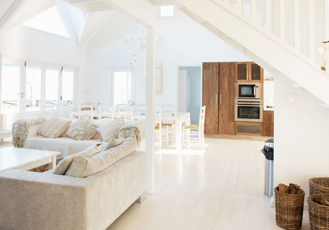 Clean white living area