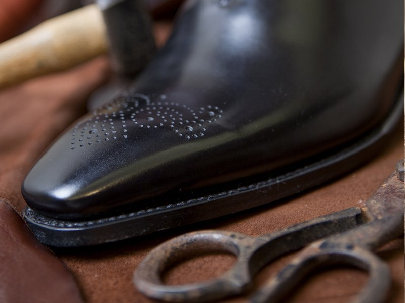 Shoe repair work in progress