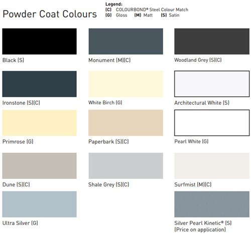 custom powder coat window door colours