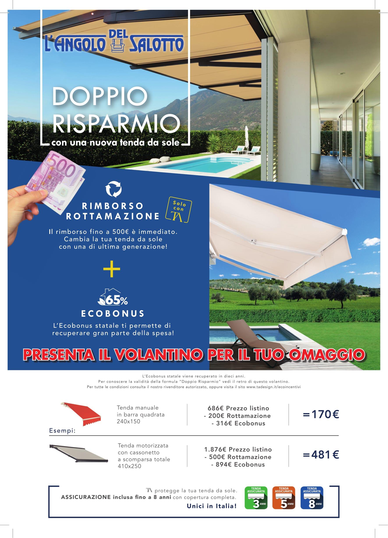 Volantino pubblicitario con offerte per tende da interno ed esterno, divani e poltrone