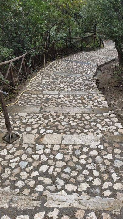sentiero nel verde in pietra