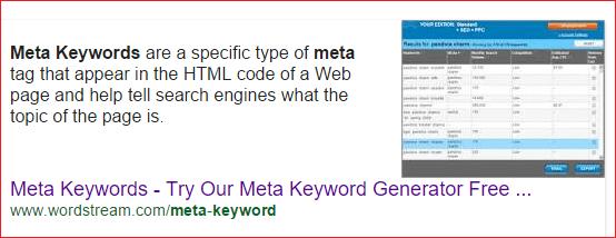 meta keywords search screenshot