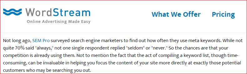 WordStream survey result claim
