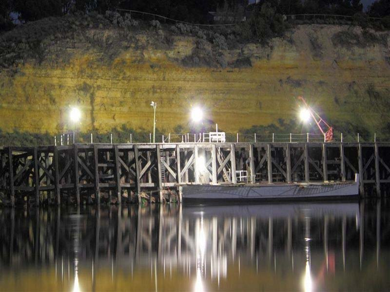 Metal bridge with illuminated lights
