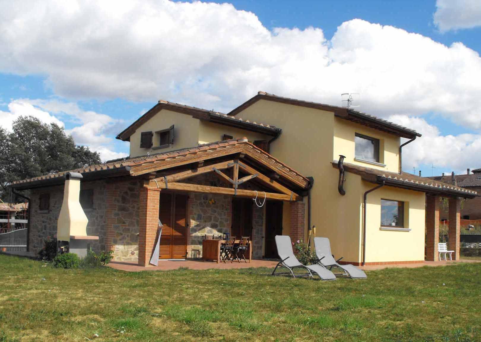 casa con portico in legno