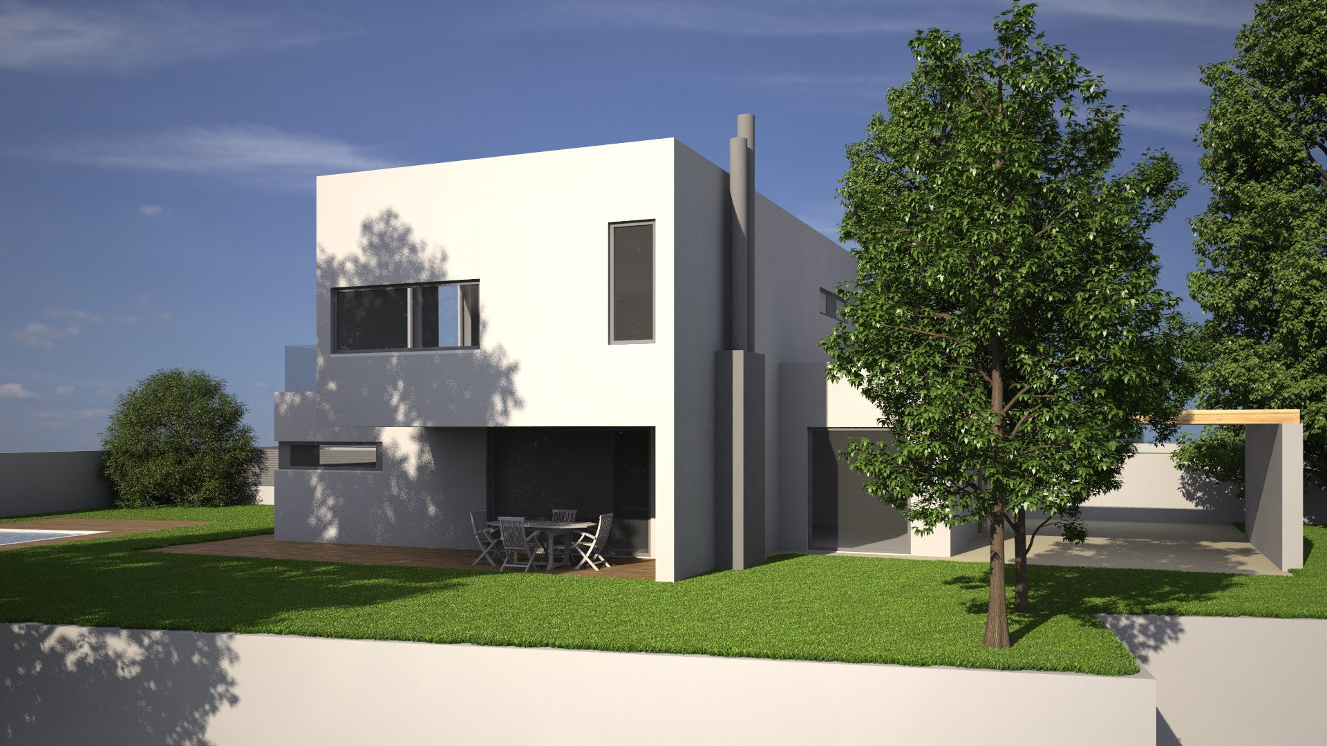 villa con giardino ed alberi