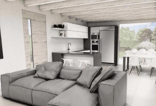 soggiorno di appartmento con divano grigio
