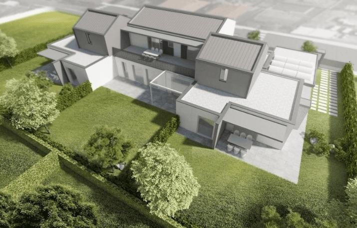 villa di testa con attico e giardino