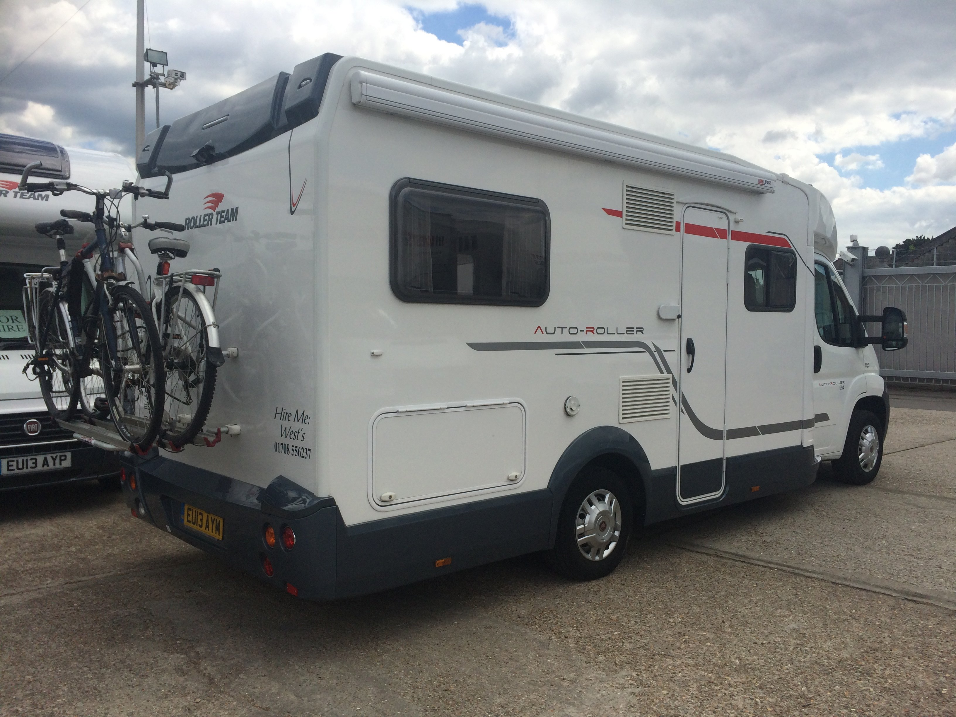 motorhome hire with bike rack, bikes, kitchen, toilet