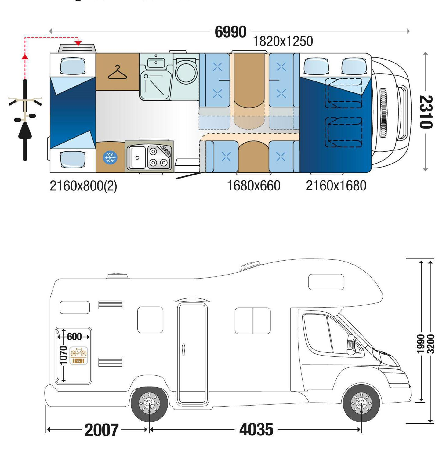 auto roller 707 motorhome rental for 7 people