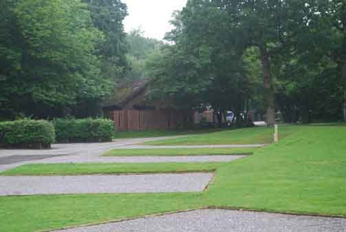 View of the garden and the pathway at the caravan club
