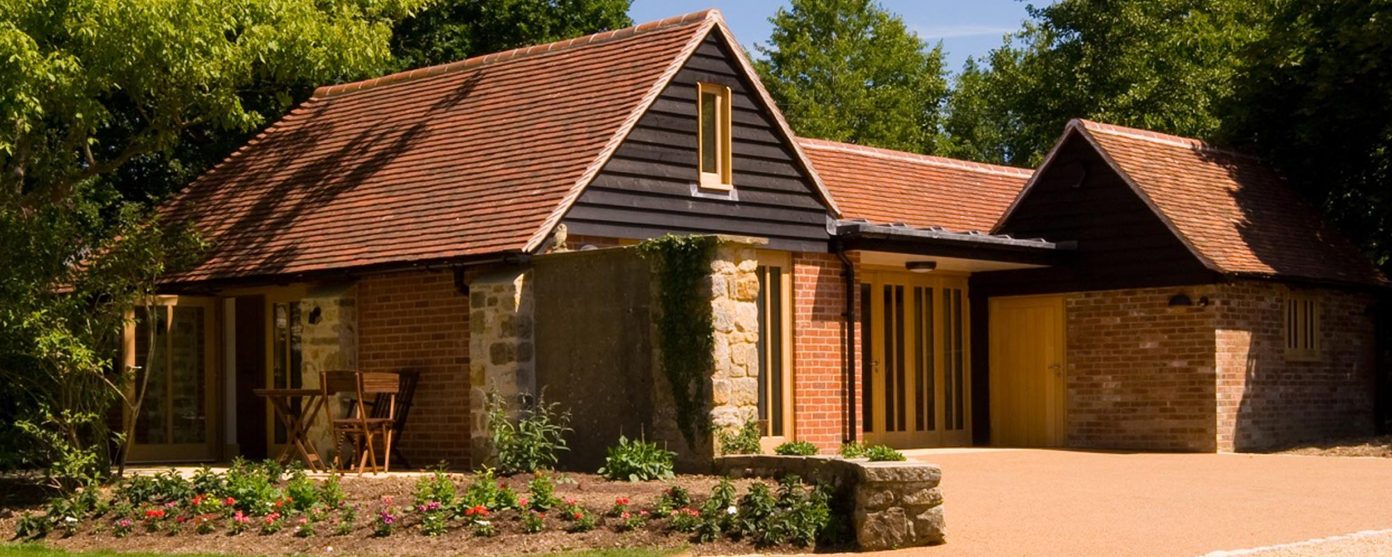Exterior view of the house constructed by builders in East Sussex