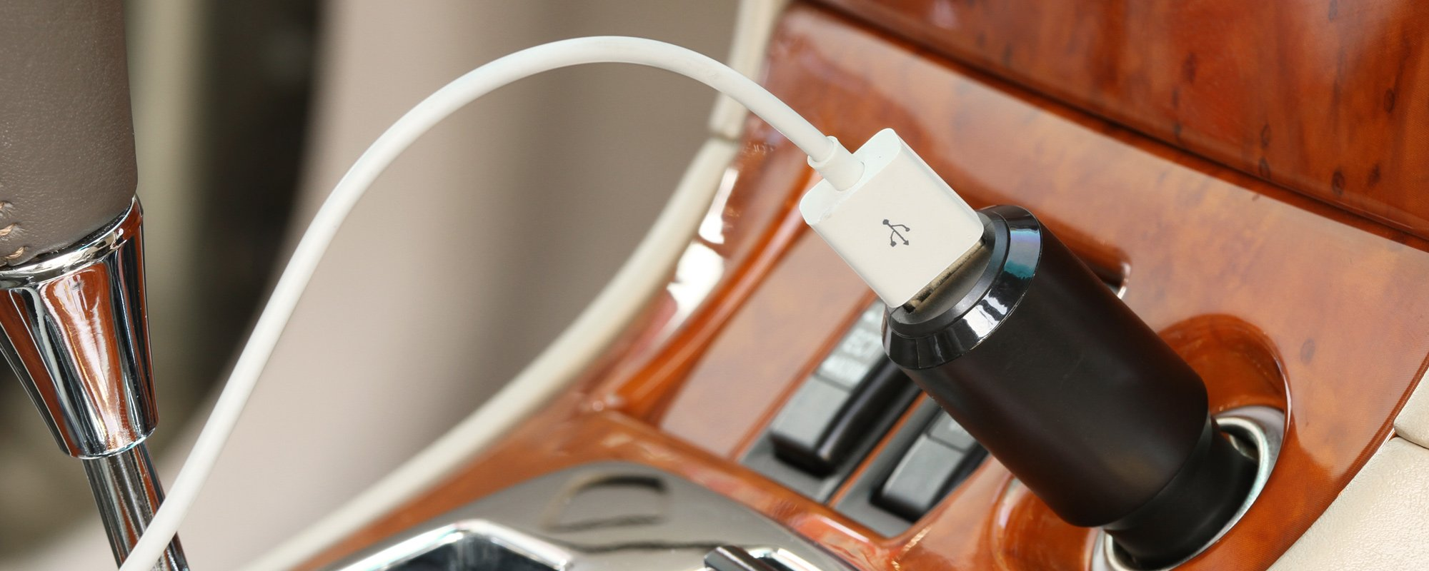 View of a car mobile charger