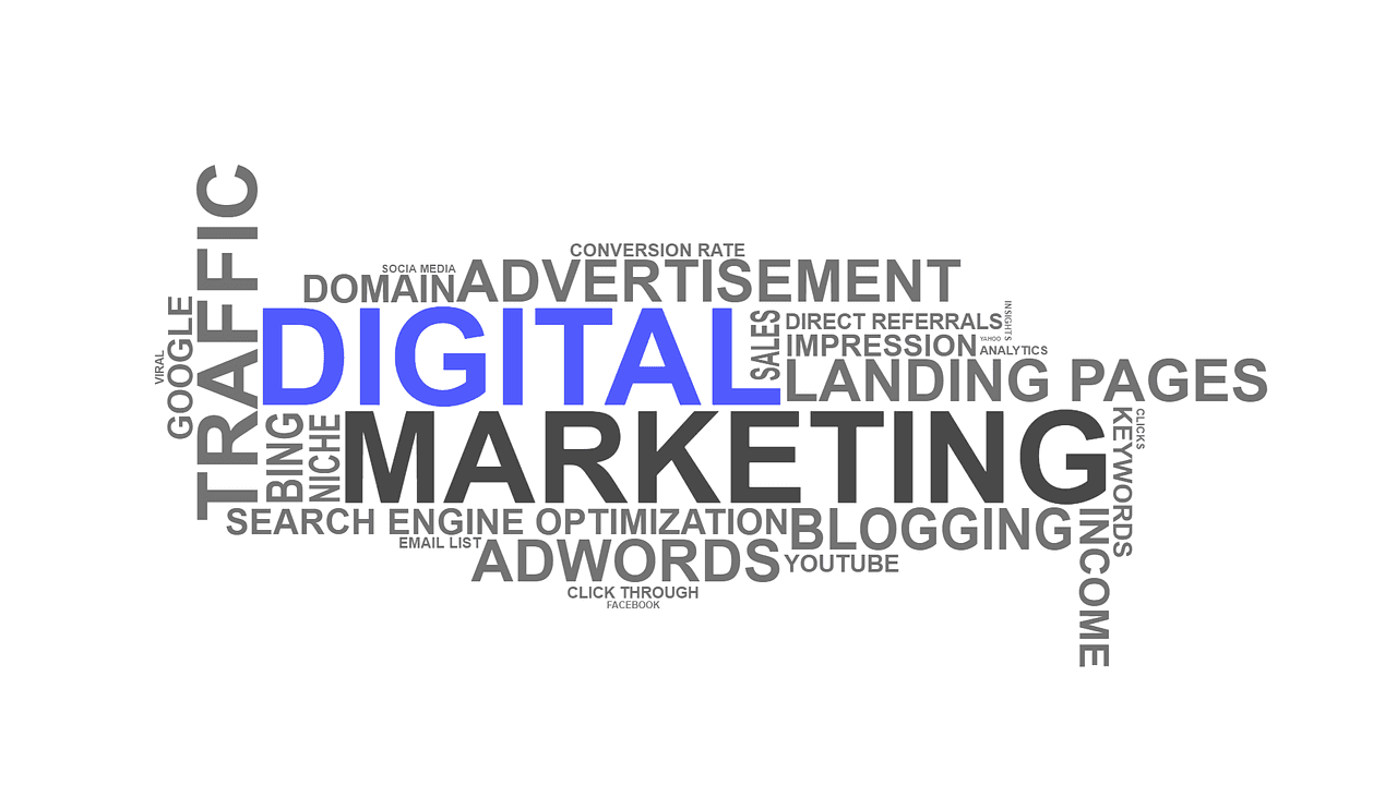 digital marketing terms such as adwords, blogging, landing pages, domain, etc