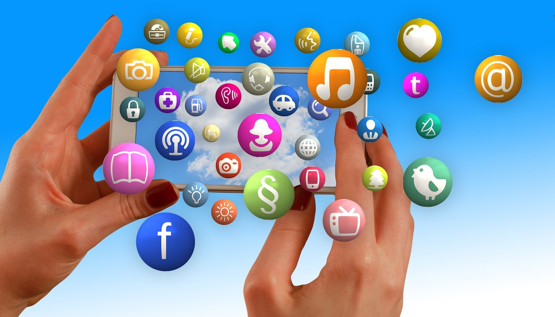 a smart phone with social media icons popping out