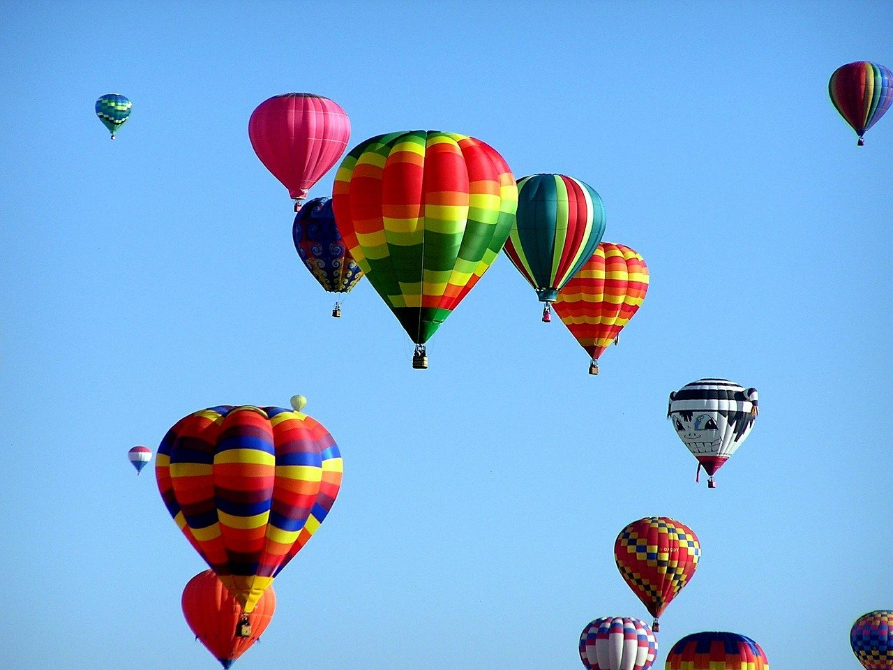 colorful hot air balloons flying in the sky