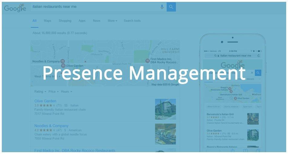 presence management on directories, yelp, google, bing, yahoo,