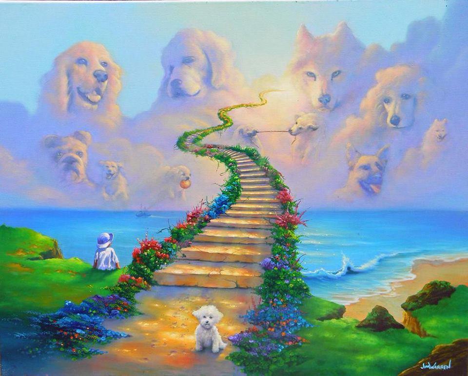 un dipinto con una scalinata che porta in cielo da una spiaggia e degli immagini di cani nel cielo