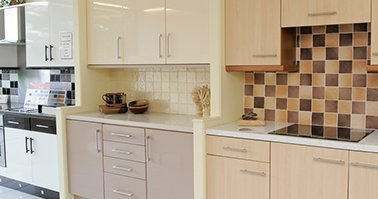 Cream Kitchen with tiles splashback