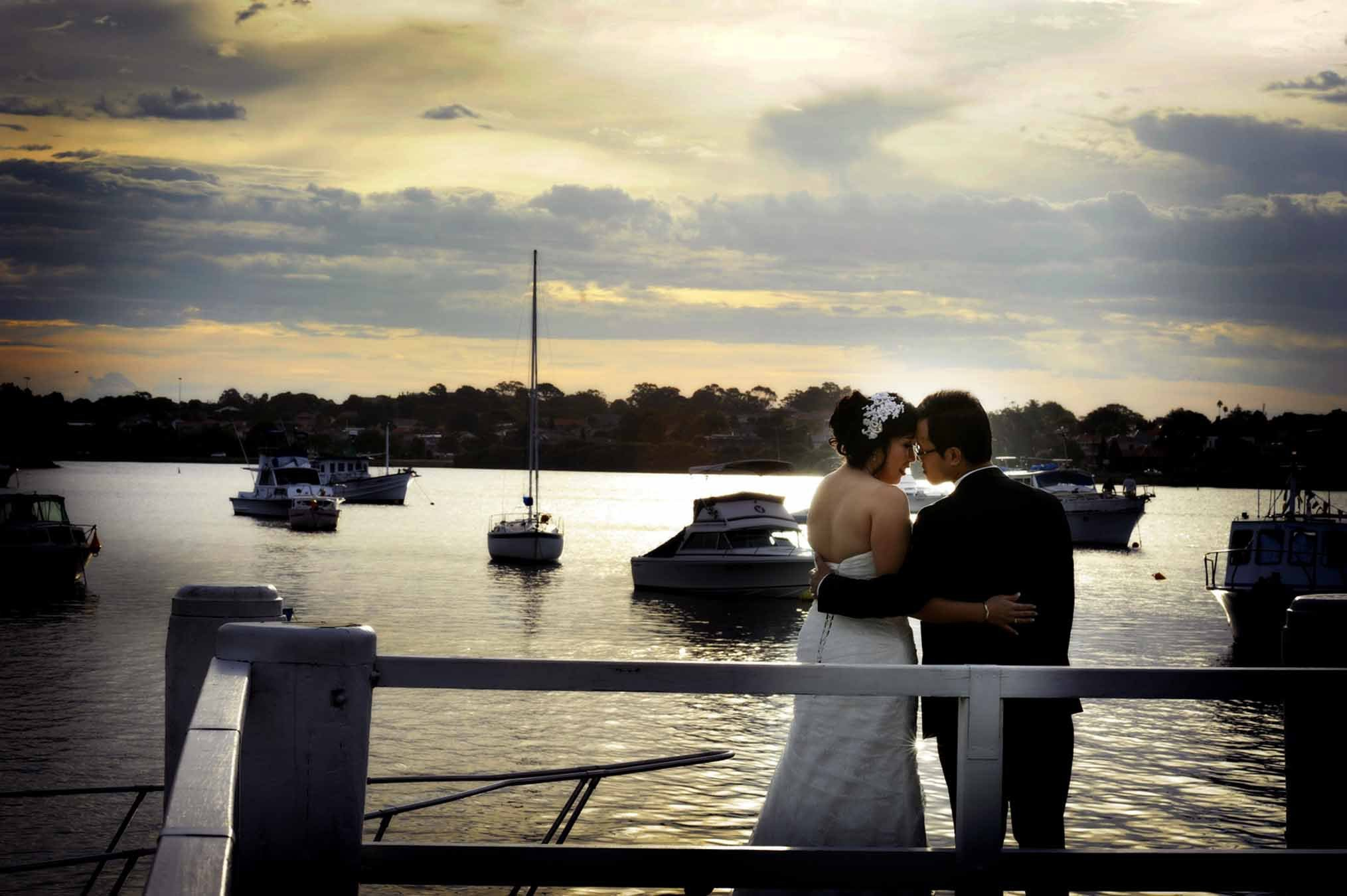 Loving couple portrait overviewing the waters