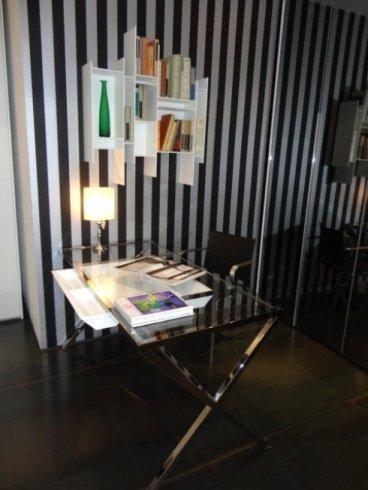 randomito mdf, scrivania vetro, stylo porada, scrivania metallo cromato