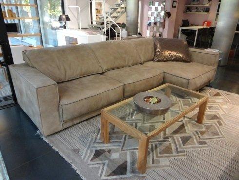 divano componibile, chaise longue, frisetti, pelle nabuk, divani a misura