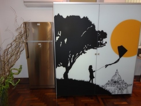 complanare scorrevole valcucine, contenitore cucina, frigo libera installazione, dispensa cucina