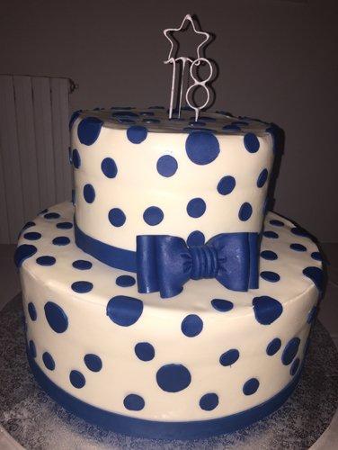 torta a pois blu