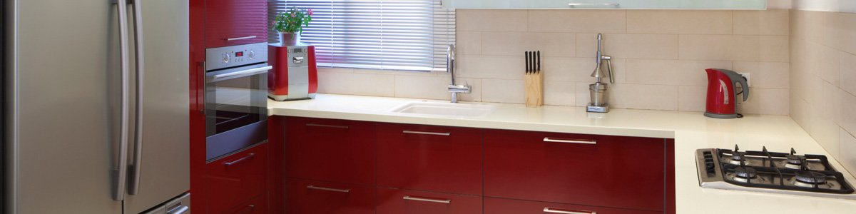 gateway manufacturing red colour modern kitchen