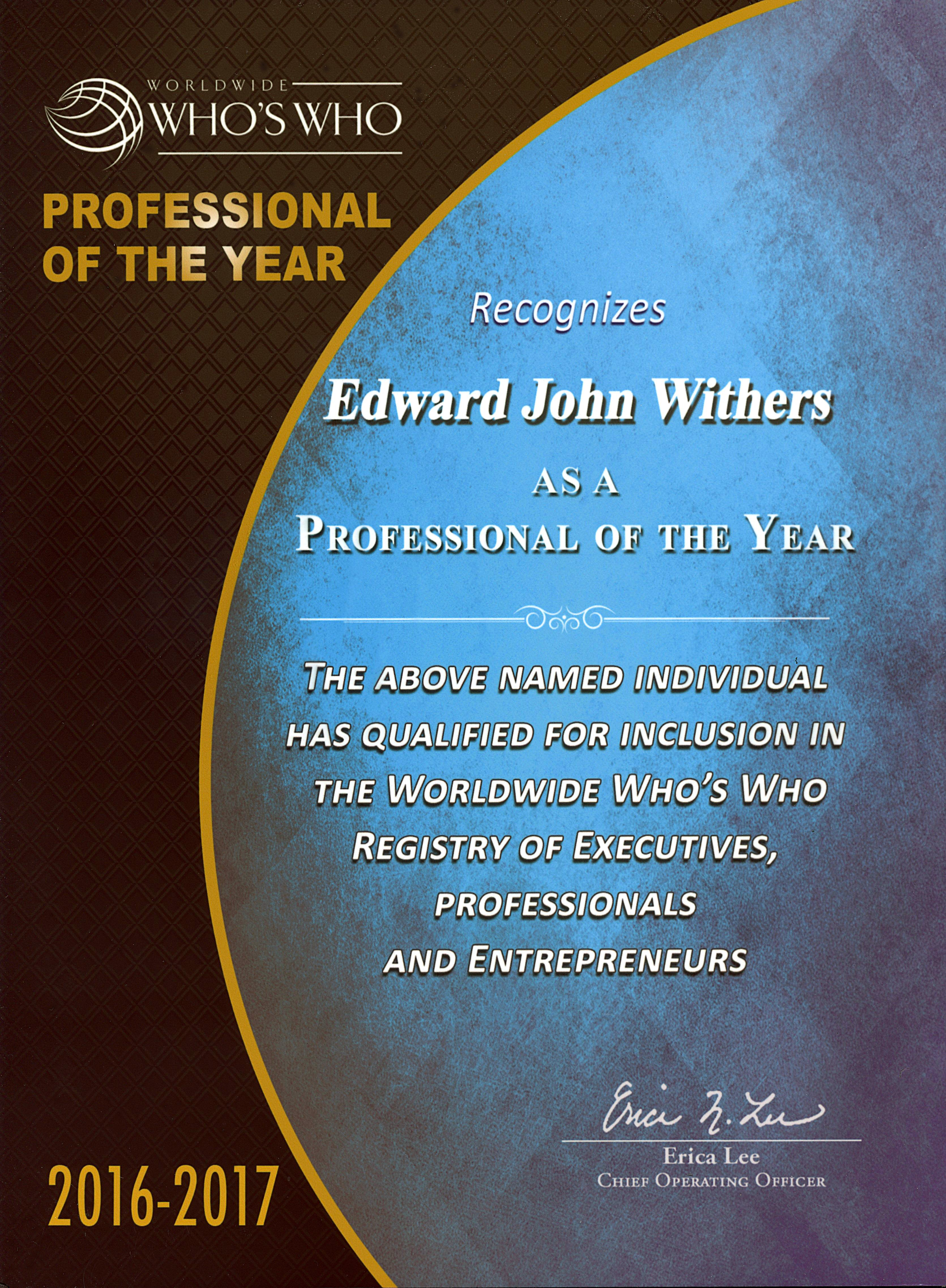 Professional of the year brochure