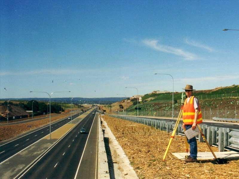road corridor with surveyor