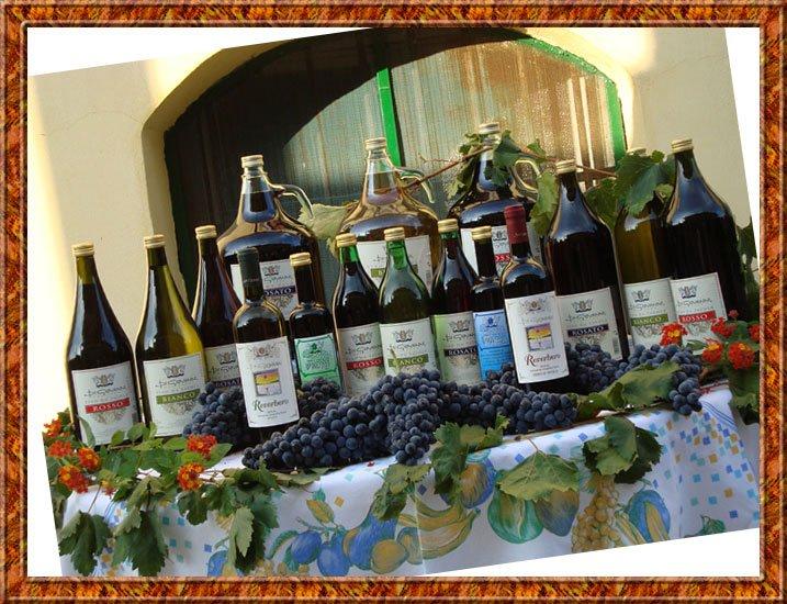 Un tavolo con delle bottiglie di vino e dell'uva