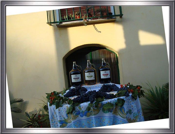 Un tavolo con tre bottiglie di vino e dell'uva
