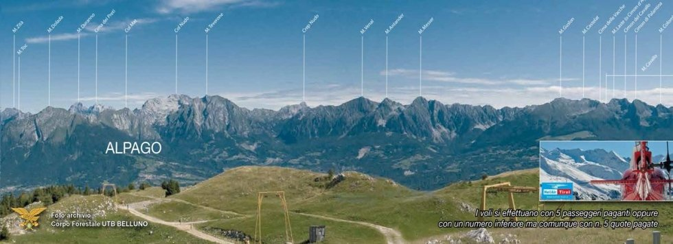 volo panoramico con vista sull'alpago