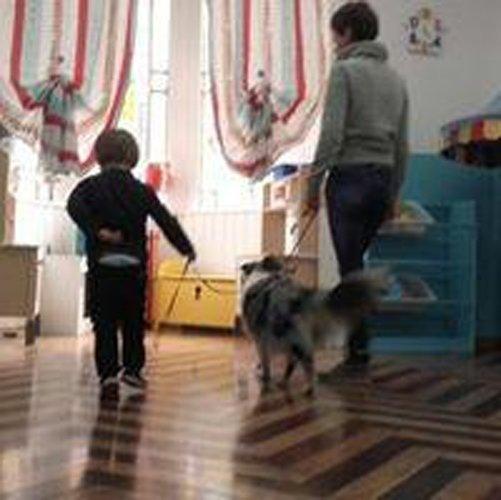 bambino con insegnante che tengono un cane al guinzaglio