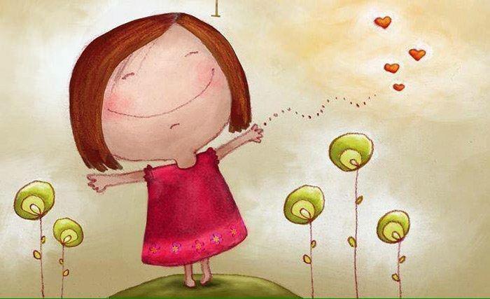 disegno di una bambina felice