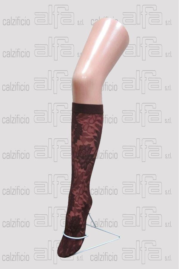 fishnet knee-highs with floral patterns