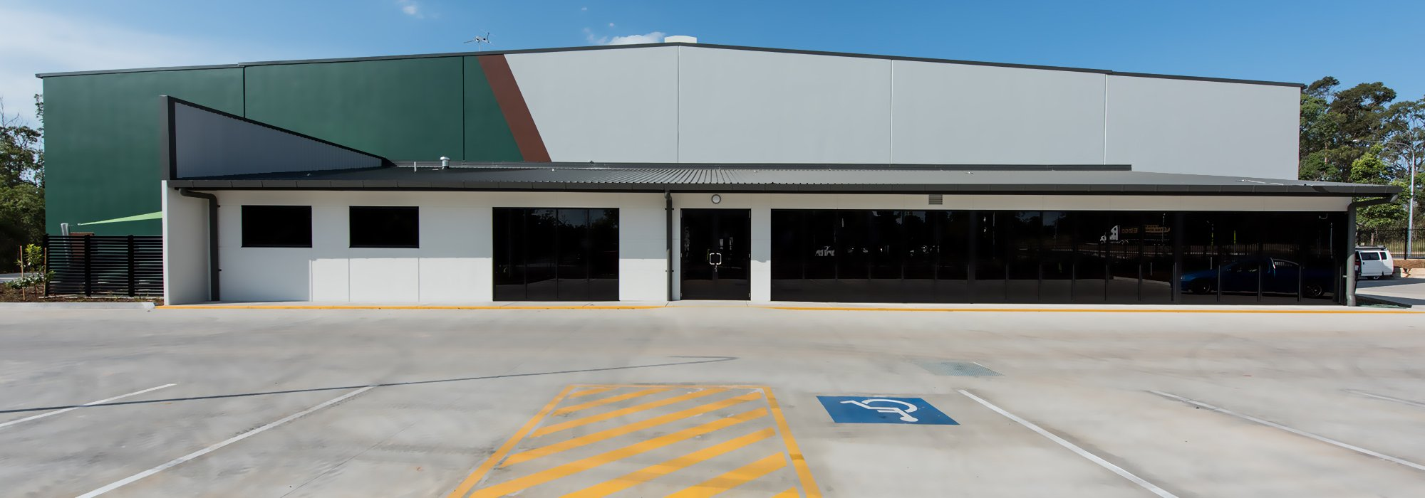 View of the car parking area for handicap customer