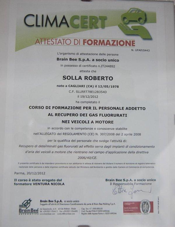 un attestato di formazione a nome Roberto Solla