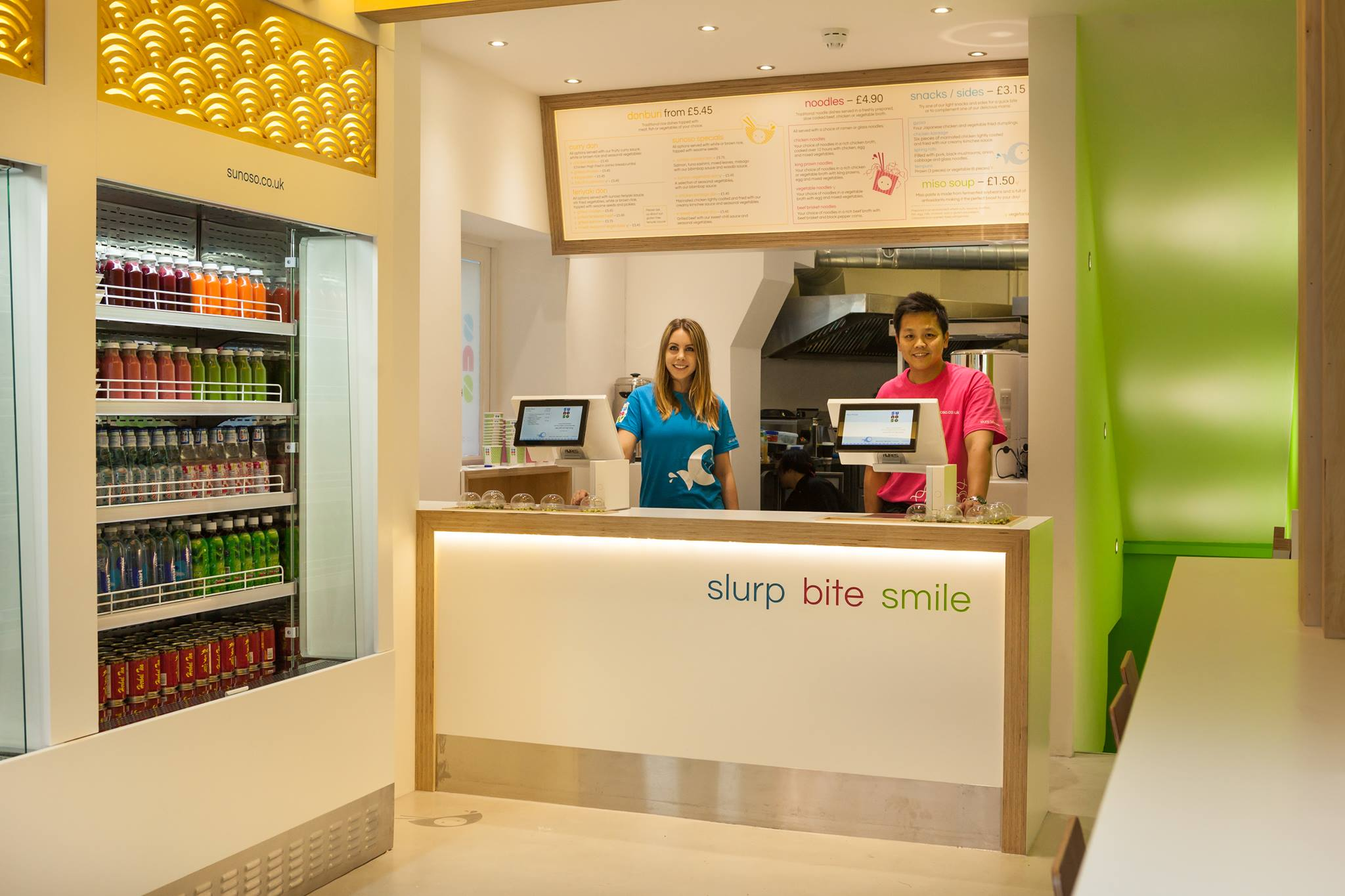 cash tills behind a smoothie bar