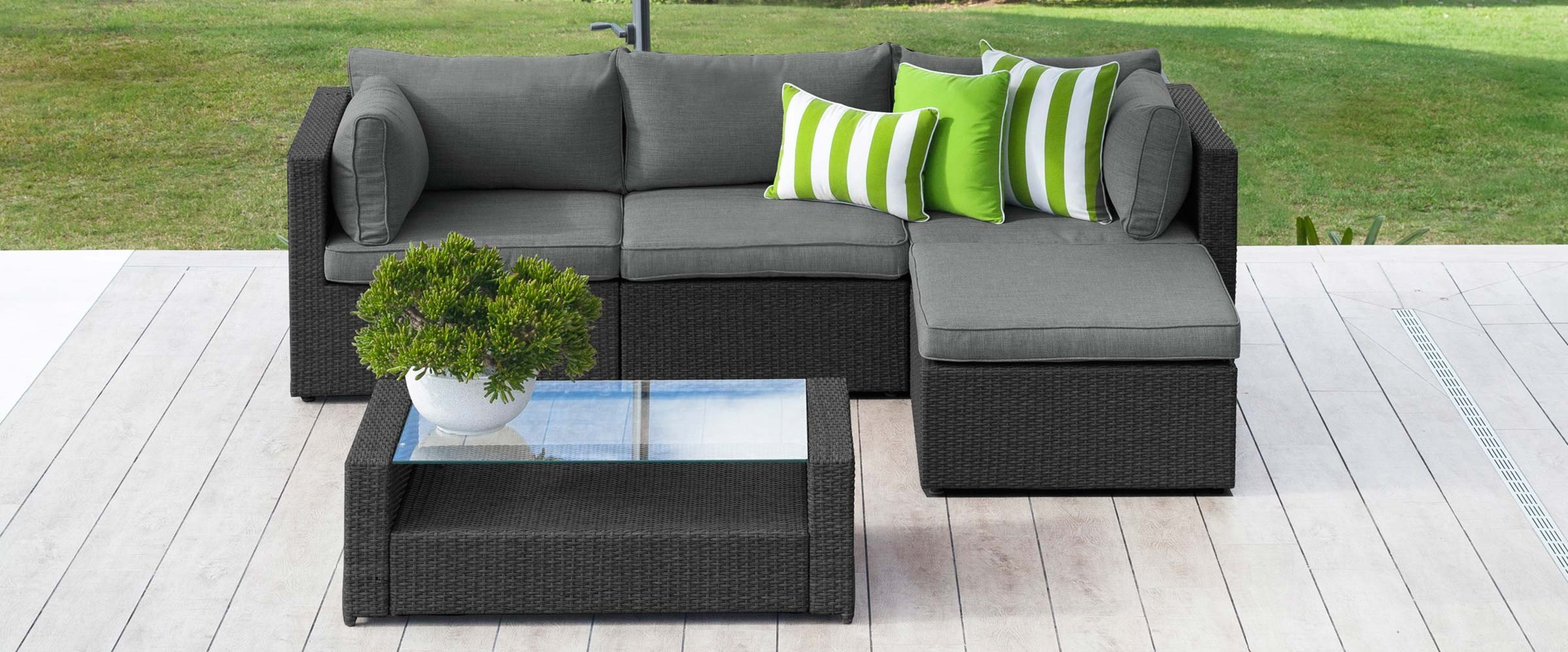 Garden seating sofa set with rectangle table