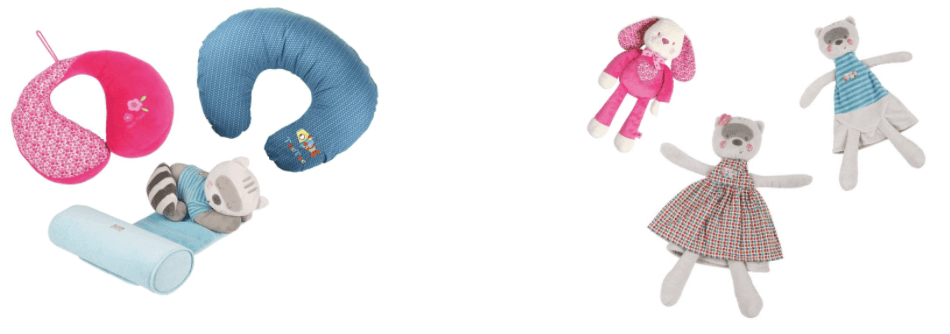 appoggia testa e bamboline di stoffa
