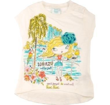 abbigliamento tuc tuc maglia bianca con disegni di una bambina in spiaggia
