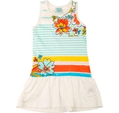 abbigliamento tuc tuc vestito bambina bianco con righe colorate e fiori