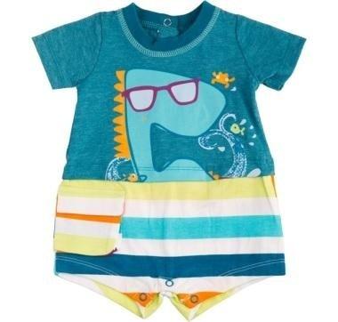 abbigliamento tuc tuc completo con squalo disegnato e surf blu