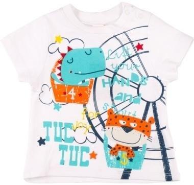 abbigliamento tuc tuc maglia bianca con disegno di un coccodrillo e tigre