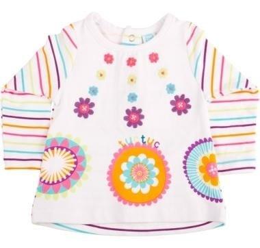 abbigliamento tuc tuc con maglia bianca a righe e disegni colorati