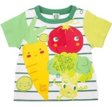 abbigliamento tuc tuc maglietta a righe verdi e immagine di vegetali